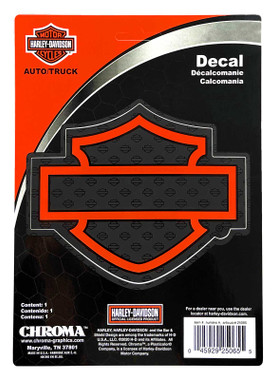 Harley-Davidson Silhouette Bar & Shield Logo Decal, Orange - 6 x 8 in. CG25065 - Wisconsin Harley-Davidson