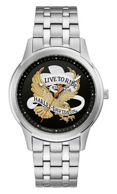 Harley-Davidson Men's Live To Ride Eagle Stainless Steel Watch, Silver 76A167 - Wisconsin Harley-Davidson
