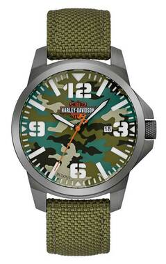 Harley-Davidson Men's B&S Camo Print Stainless Steel Watch w/ Nylon Strap 78B157 - Wisconsin Harley-Davidson