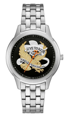 Harley-Davidson Women's Live To Ride Eagle Stainless Steel Watch, Silver 76L194 - Wisconsin Harley-Davidson
