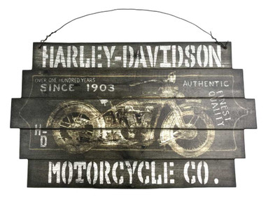 "Harley-Davidson 1903 100 Years Staggered Cut Wooden Sign w/ Wire, 14"" x 23.5"" in - Wisconsin Harley-Davidson"
