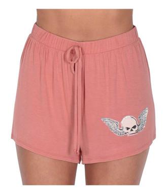 Harley-Davidson Women's Winged Willie G Skull Stretchy Lounge Shorts - Pink - Wisconsin Harley-Davidson