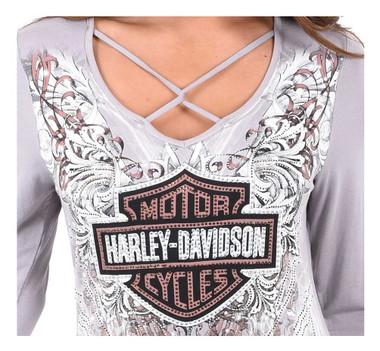 Harley-Davidson Women's Bling Bar & Shield Long Sleeve Criss Cross V-Neck Top - Wisconsin Harley-Davidson