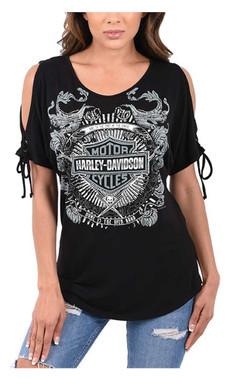 Harley-Davidson Women's Embellished Bar & Shield Tied Cold Shoulder Top - Black - Wisconsin Harley-Davidson