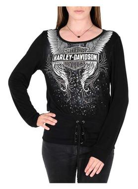 Harley-Davidson Women's Winged Bar & Shield Embellished Long Sleeve Top - Black - Wisconsin Harley-Davidson