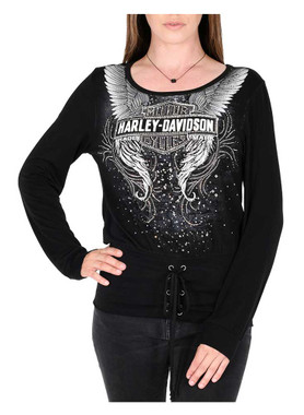 Harley-Davidson Women's Winged Bar & Shield Embellished Long Sleeve Top - Black - Wisconsin Harley-Davidson