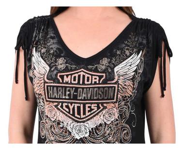 Harley-Davidson Women's Bar & Shield Roses Bling Short Sleeve V-Neck Top, Black - Wisconsin Harley-Davidson
