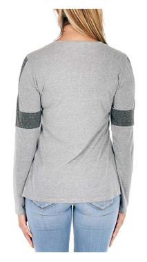 Harley-Davidson Women's Bling Bar & Shield Long Sleeve Scoop Neck T-Shirt, Gray - Wisconsin Harley-Davidson