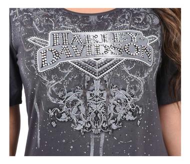 Harley-Davidson Women's Embellished H-D Scoop Neck Short Sleeve Top - Gray - Wisconsin Harley-Davidson