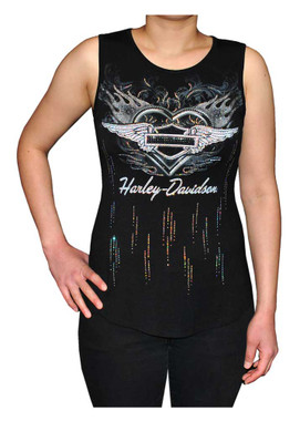 Harley-Davidson Women's Flame Heart Embellished Sleeveless Scoop Neck Tank Top - Wisconsin Harley-Davidson