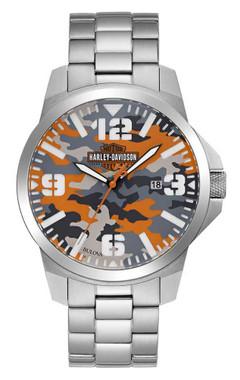 Harley-Davidson Men's Bar & Shield Logo Camo Print Stainless Steel Watch 76B190 - Wisconsin Harley-Davidson