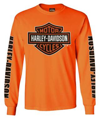 Harley-Davidson Men's Bar & Shield Long Sleeve Crew-Neck Shirt, Safety Orange - Wisconsin Harley-Davidson