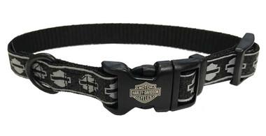Harley-Davidson Adjustable Bar & Shield Reflective Dog Collar - Black & Silver - Wisconsin Harley-Davidson
