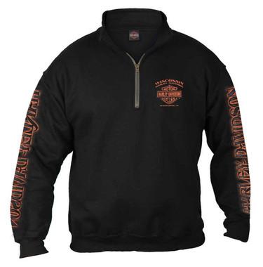 Harley-Davidson Men's Eagle Piston 1/4 Zip Cadet Pullover Sweatshirt - Black - Wisconsin Harley-Davidson