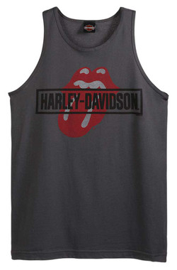 Harley-Davidson Men's Rolling Stones Mash Sleeveless Cotton Tank Top, Charcoal - Wisconsin Harley-Davidson