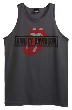 Harley-Davidson Men's Rolling Stones Mash Sleeveless Cotton Tank Top, Charcoal - Wisconsin Harley-Davidson