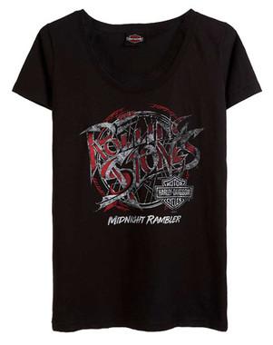 Harley-Davidson Women's Rolling Stones Midnight Rambler Scoop Neck Tee, Black - Wisconsin Harley-Davidson