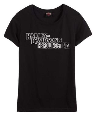 Harley-Davidson Women's Rolling Stones Stacked Crew-Neck Short Sleeve Tee, Black - Wisconsin Harley-Davidson
