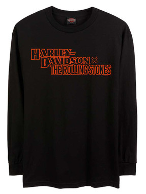 Harley-Davidson Men's Rolling Stones Stacked Long Sleeve Cotton Shirt - Black - Wisconsin Harley-Davidson