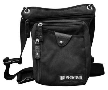 Harley-Davidson C4 Convertible Leg Waist Pack & Crossbody Bag - Black Canvas - Wisconsin Harley-Davidson