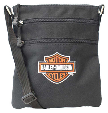 Harley-Davidson Embroidered Bar & Shield Logo Crossbody Purse w/Adjustable Strap - Wisconsin Harley-Davidson