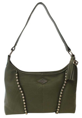 Harley-Davidson Women's Ball & Chain Genuine Leather HOBO Purse - Olive Green - Wisconsin Harley-Davidson