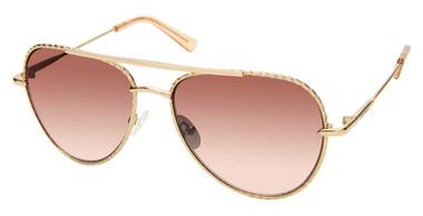 Harley-Davidson Women's Aviator Bejeweled Sunglasses, Gold Frame & Brown Lenses - Wisconsin Harley-Davidson