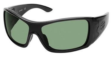 Harley-Davidson Men's Full Rim Sport Sunglasses, Shiny Black Frame/Green Lenses - Wisconsin Harley-Davidson