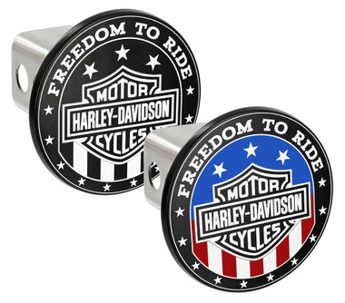 Harley-Davidson Oval Bar & Shield Flag Hitch Cover, 2 inch. Two Colors Available - Wisconsin Harley-Davidson