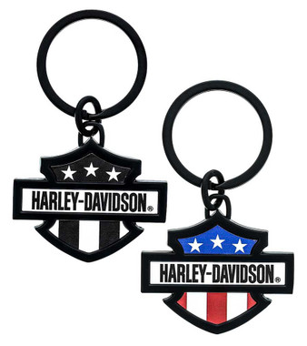 Harley-Davidson 3D Bar & Shield Flag Key Chain, 3 in. - Two Colors Available - Wisconsin Harley-Davidson