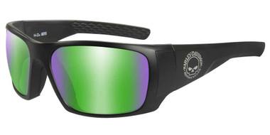 Harley-Davidson Men's Keys Sunglasses, Green Mirror Lenses & Matte Black Frames - Wisconsin Harley-Davidson