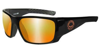 Harley-Davidson Men's Keys Sunglasses, Orange Mirror Lenses & Gloss Black Frames - Wisconsin Harley-Davidson