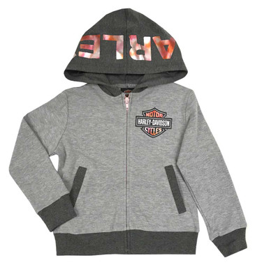 Harley-Davidson Little Girls' Metallic Foiled Knit Full-Zip Hoodie, Gray - Wisconsin Harley-Davidson