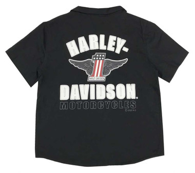 Harley-Davidson Big Boys' #1 RWB Short Sleeve Button Shop Shirt - Black - Wisconsin Harley-Davidson