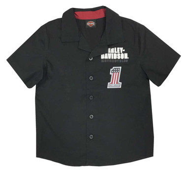Harley-Davidson Little Boys' #1 RWB Short Sleeve Button Shop Shirt - Black - Wisconsin Harley-Davidson