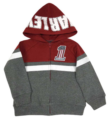 Harley-Davidson Little Boys' #1 RWB Patch Knit Zip-Up Hoodie - Gray & Maroon - Wisconsin Harley-Davidson