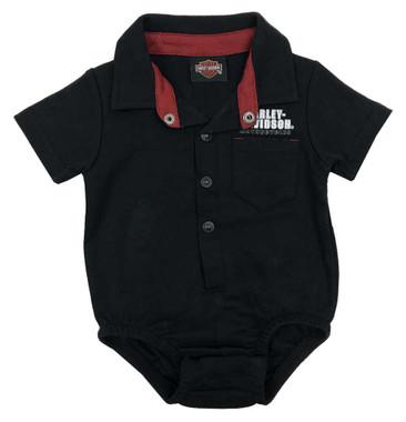 Harley-Davidson Baby Boys' Button Short Sleeve Stretchy Knit Creeper - Black - Wisconsin Harley-Davidson