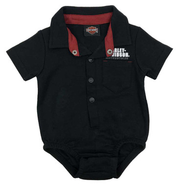 Harley-Davidson Baby Boys' Button Short Sleeve Stretchy Knit Creeper - Black - Wisconsin Harley-Davidson