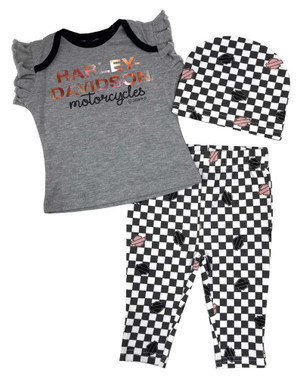 Harley-Davidson Baby Girls' Metallic & Checkers Newborn 3-Piece Set w/ Gift Bag - Wisconsin Harley-Davidson