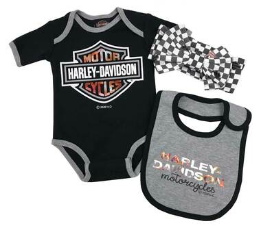 Harley-Davidson Baby Girls' 3-Piece Metallic Newborn Creeper Set w/ Hat & Bib - Wisconsin Harley-Davidson