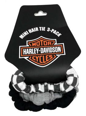Harley-Davidson Baby Girls' 3-Pack Cotton Blend Mini Hair Tie Pack 7201041 - Wisconsin Harley-Davidson