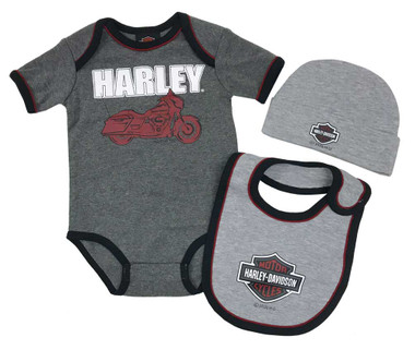 Harley-Davidson Baby Boys' 3-Piece H-D Infant Creeper Set w/ Hat & Bib, Gray - Wisconsin Harley-Davidson