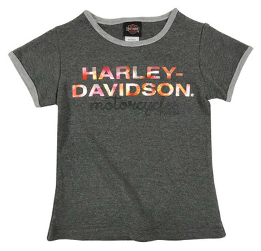 Harley-Davidson Big Girls' Metallic Script Knit Short Sleeve Tee, Dark Gray - Wisconsin Harley-Davidson