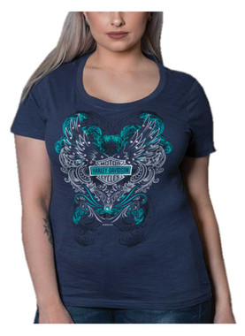 Harley-Davidson Women's Embellished Winged B&S Short Sleeve Tee, Indigo Blue - Wisconsin Harley-Davidson
