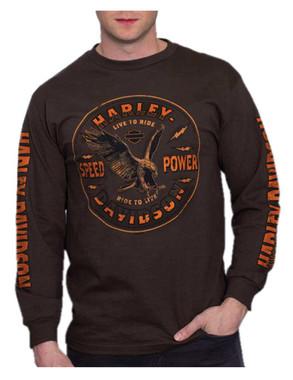 Harley-Davidson Men's Speed & Power Eagle Cotton Long Sleeve T-Shirt - Brown - Wisconsin Harley-Davidson