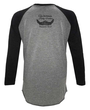 Harley-Davidson Women's Willie G Skull 3/4 Raglan Sleeve Shirt, Black & Gray - Wisconsin Harley-Davidson