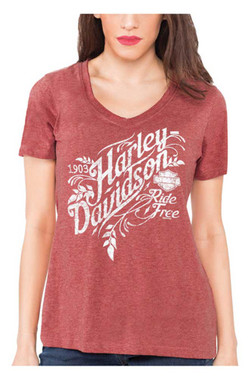 Harley-Davidson Women's Distressed H-D V-Neck Short Sleeve Tee, Red Wash - Wisconsin Harley-Davidson