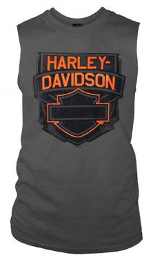 Harley-Davidson Men's Bar & Shield Logo Sleeveless Cotton Muscle Shirt, Charcoal - Wisconsin Harley-Davidson