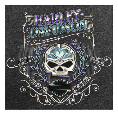 Harley-Davidson Women's Bright Skull Long Sleeve T-Shirt w/ Thumbholes, Black - Wisconsin Harley-Davidson