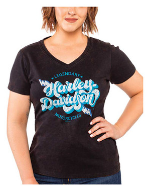 Harley-Davidson Women's Embellished Retro Bolt V-Neck Short Sleeve Tee, Black - Wisconsin Harley-Davidson